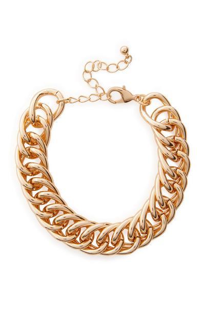 Bracelet doré épais en chaîne torsadée plate