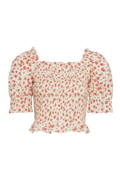 Top corto rosa floreale con maniche arricciate a palloncino