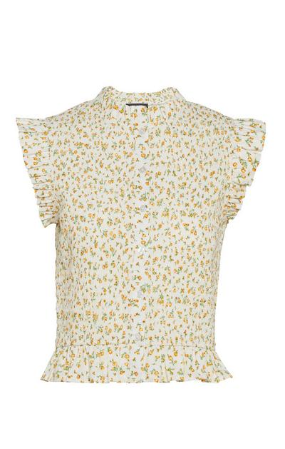 Lemon Floral Shirred Frill Cap Sleeve Shirt