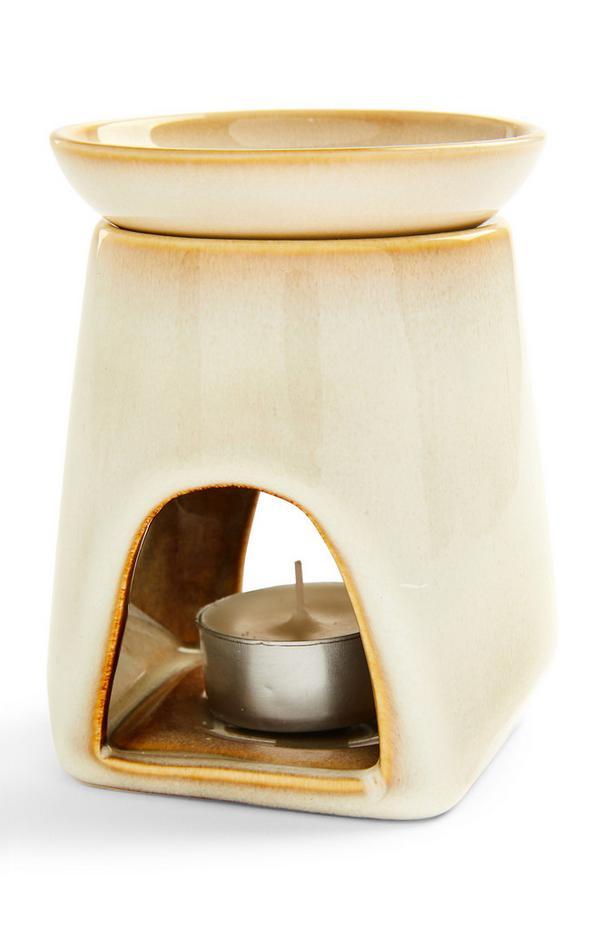 Bruciatore olio color crema in ceramica