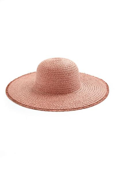 Red Staw Frayed Egde Floppy Sun Hat