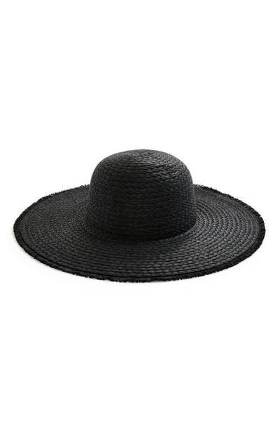 Black Straw Frayed Egde Floppy Sun Hat