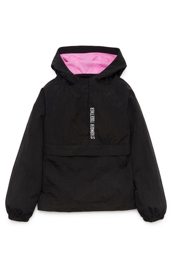 Sportieve zwarte pullover-jas voor meisjes