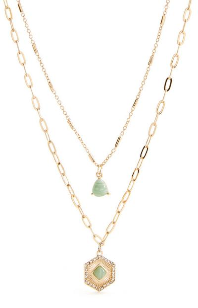 Goldtone Two Row Stone Pendant Necklace