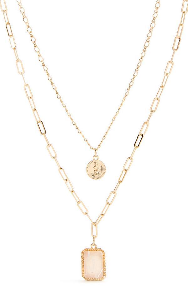 Zweireihige goldfarbene Halskette mit Steinanhänger