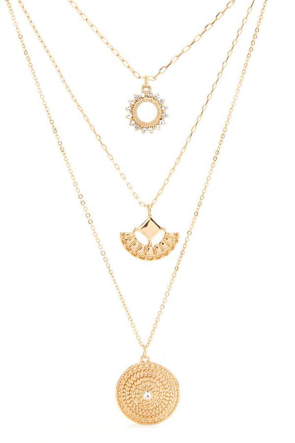 Dreireihige goldfarbene Halskette mit Anhängern