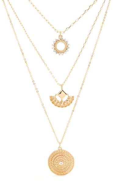 Goldtone Three Row Charm Necklace