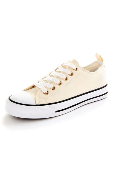 Cream Classic Canvas Lace Up Trainers
