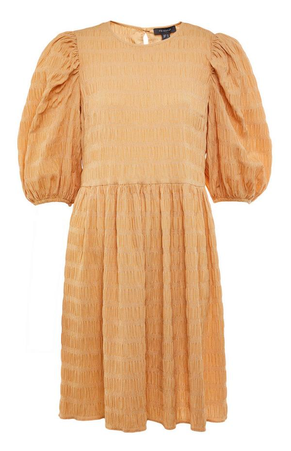 Light Orange Textured Puff Sleeve Mini Dress
