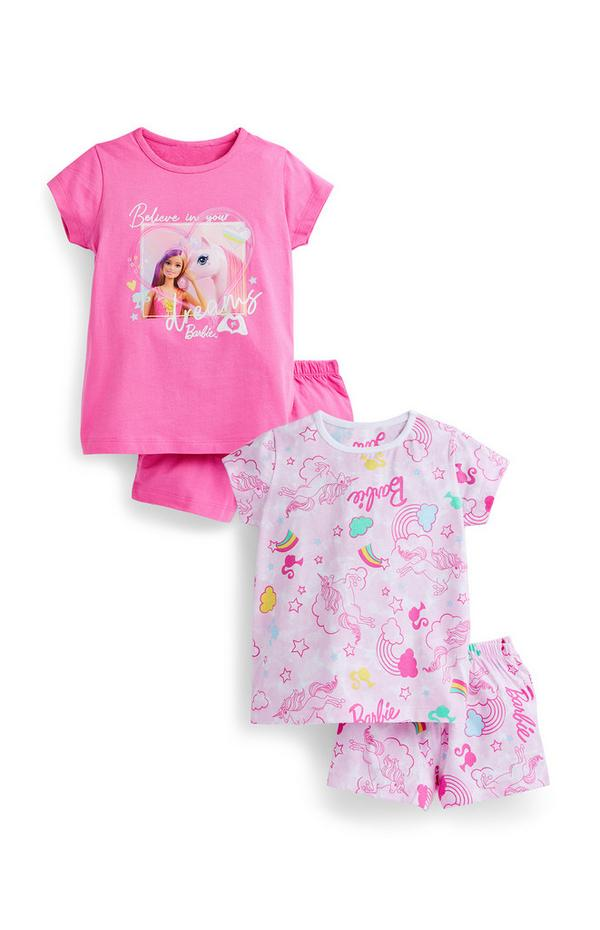 Younger Girl Pink Barbie Short Pyjamas Sets 2 Pack