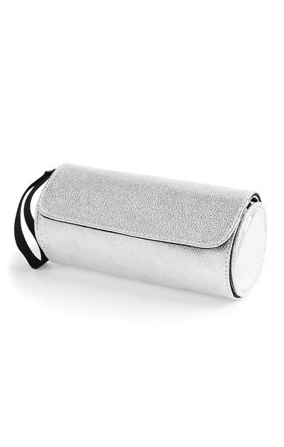 Metallic Silver Make Up Brush Roll