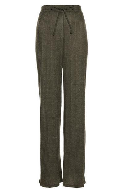 Khaki Cut And Sew Wide-Leg Joggers