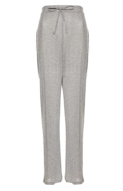 Grey Cut And Sew Wide Leg Joggers