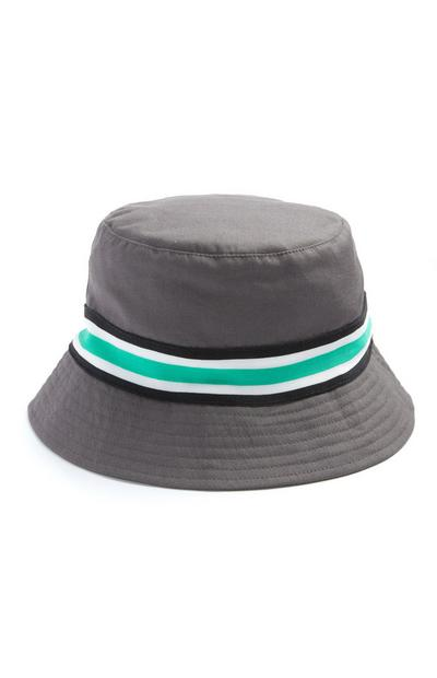 Grey Mint Stripe Bucket Hat