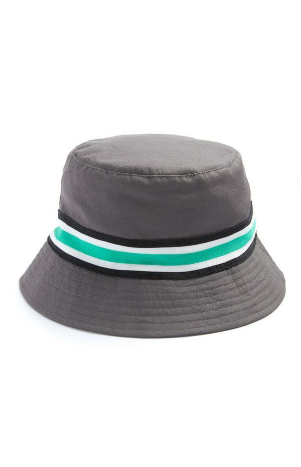 Grijsgemêleerd hoedje met mint streep