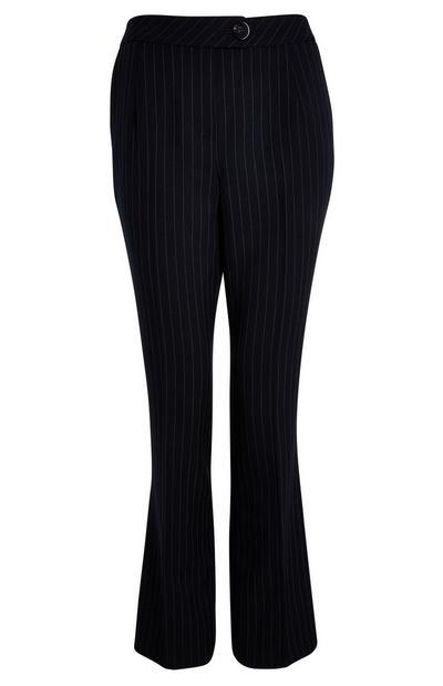 Zwarte broek met wijde pijpen en krijtstrepen