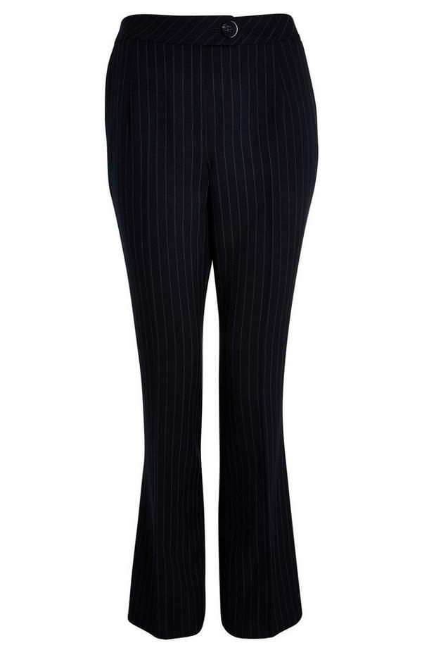 Pantalones negros de campana con raya diplomática
