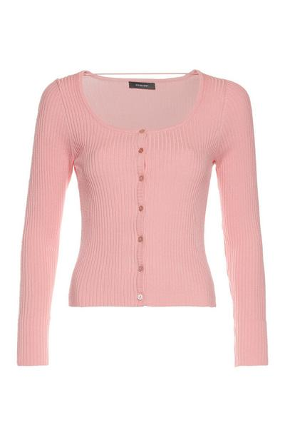 Peach Scoop Neck Knit Cardigan