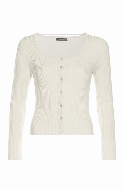 Ecru Scoop Neck Knit Cardigan
