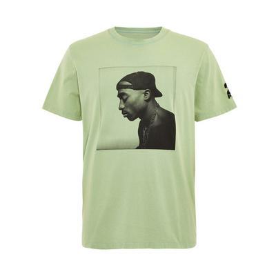 Green Tupac Print T-Shirt