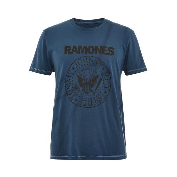 T-shirt blu navy effetto tie dye Ramones