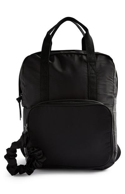 Black Top Handle Nylon Backpack