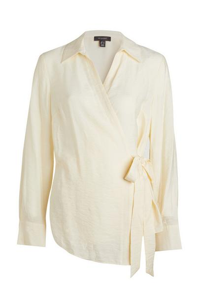 Ivory Side Tie Wrap Shirt