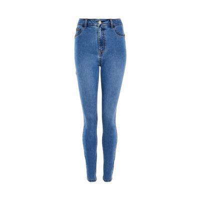 Calças ganga skinny modeladoras lavagem azul