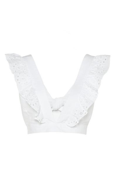 White Eyelet Ruffle V-Neck Crop Top