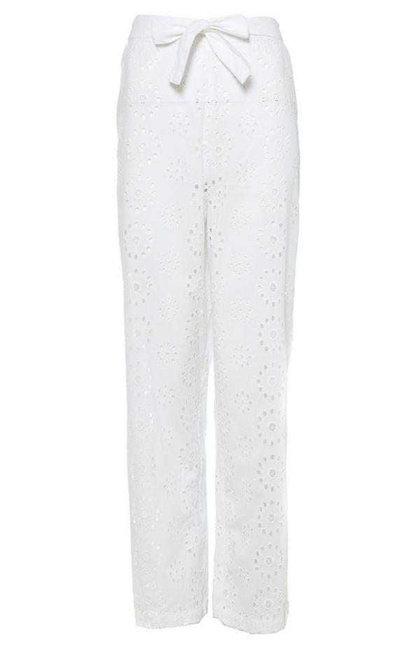 White Broderie High Waist Trousers