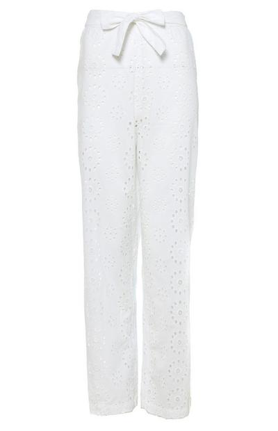 White Eyelet High Waist Pants