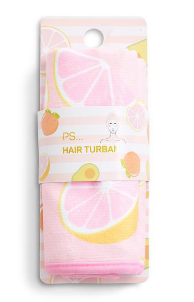 Frottee-Haarturban mit Grapefruit-Motiv