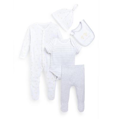 Newborn Baby White Starter Set 5 Piece