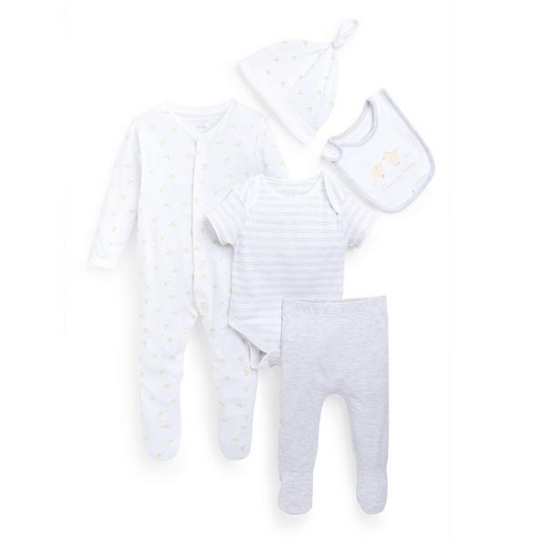 Conjunto de 5 piezas blancas para recién nacido