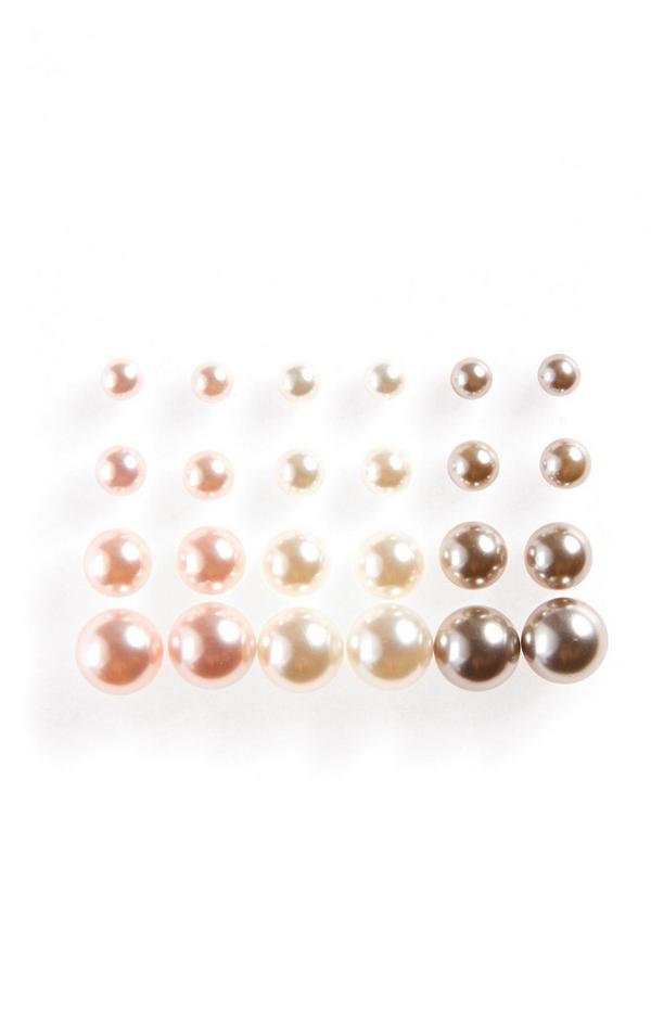 Pearl Stud Earrings 12 Pack