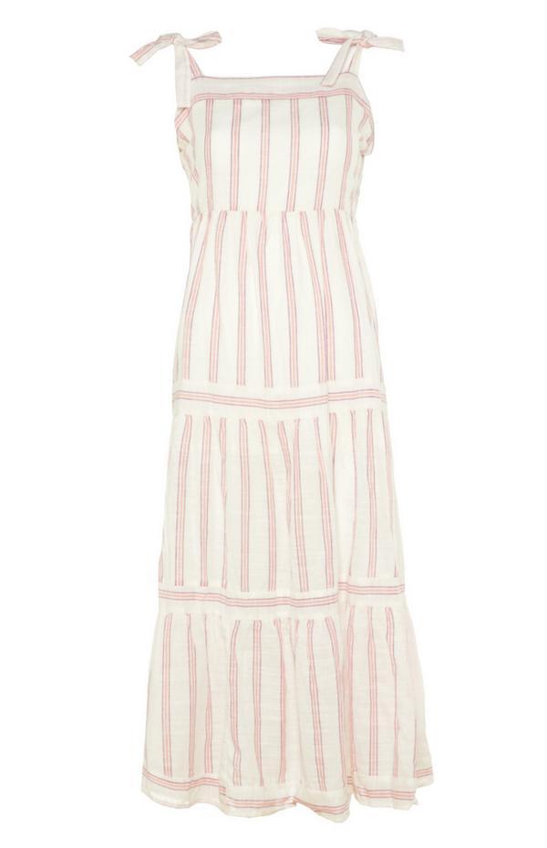 Ivory Striped Tiered Maxi Dress