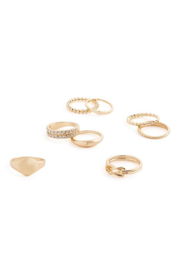 Pack 8 anéis sortidos brilhantes dourado