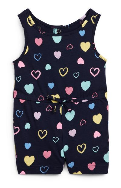 Macacão sem mangas malha estampado corações menina bebé preto