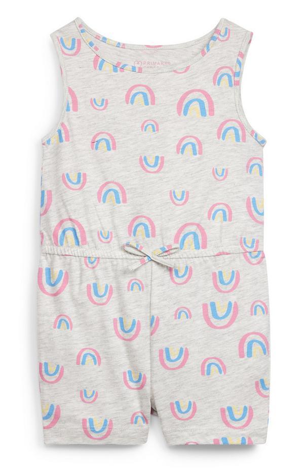 Baby Girl Grey Rainbow Print Jersey Vest Playsuit