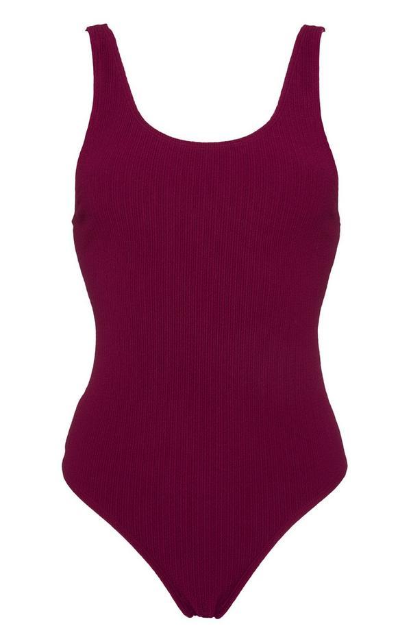 Burgundy Scoop Neck Swimsuit