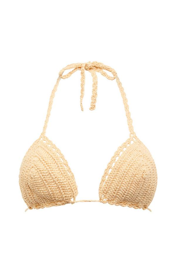 Beige Crochet Halter Bikini Top