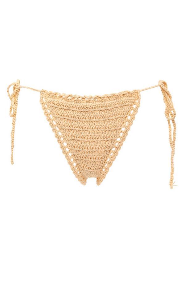 Elfenbeinfarbene Häkel-Bikinihose mit seitlicher Schnürung
