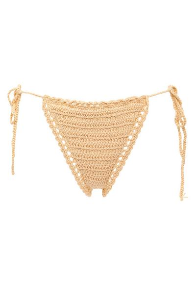Bež kvačkane bikini hlačke z zavezovanjem ob strani