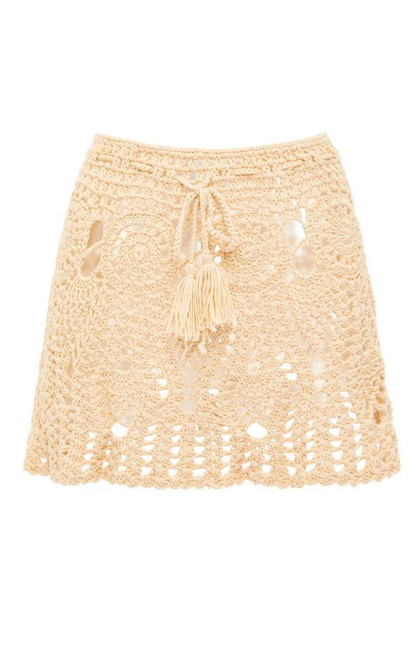 Ivory Front TIe Crochet Skirt