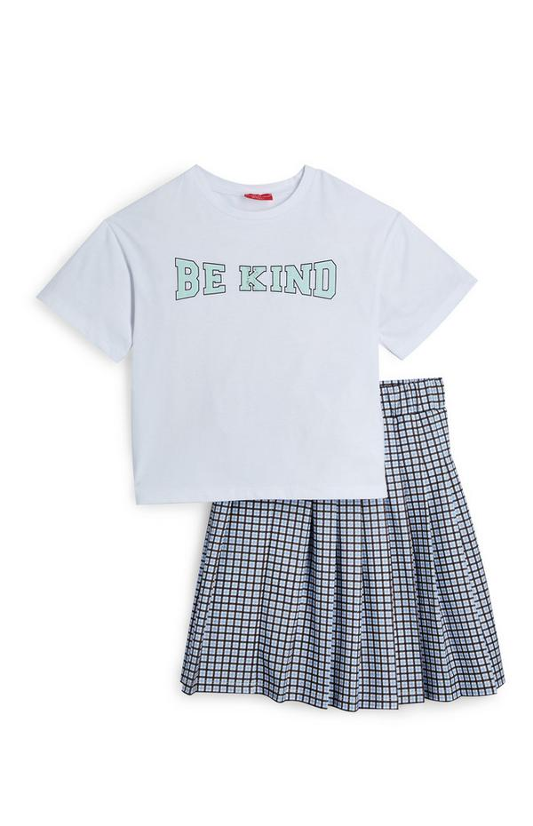 Older Girl Check Pleated Skirt And T-Shirt Set