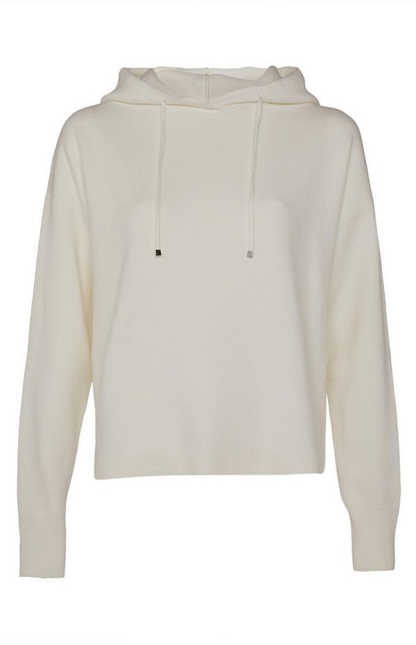 Sudadera de conjunto color crema con capucha