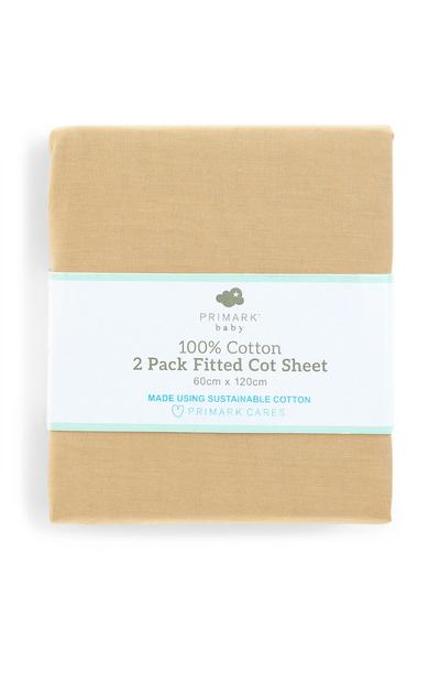 Beige Baby Cot Bed Fitted Sheet 2 Pack