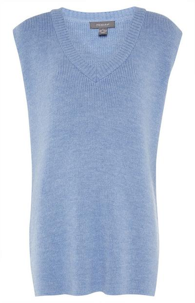 Blue V Neck Knit Vest Top