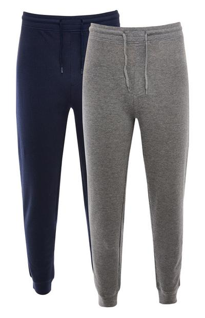 Donkerblauwe en grijze joggingbroek met wafelstructuur en trekkoord in taille