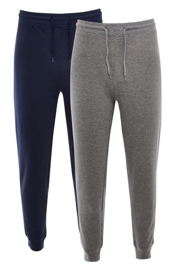 Bas de jogging gaufré bleu marine et gris à taille nouée